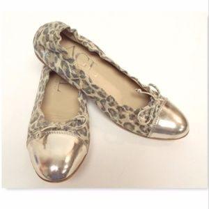 New AGL Leopard Shimmer Leather Ballet Flats 38.5